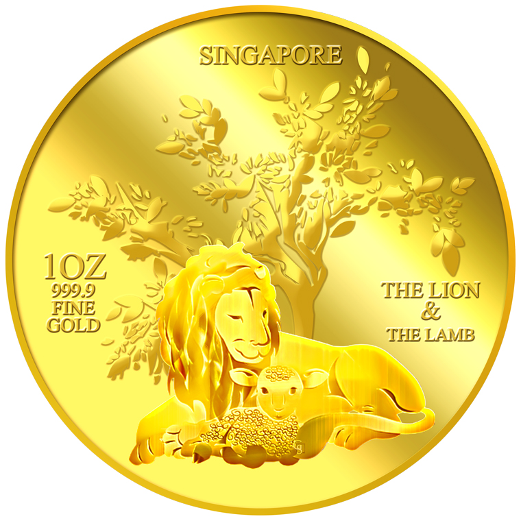 1oz The Lion and the Lamb Gold Medallion (1ST LAUNCH)