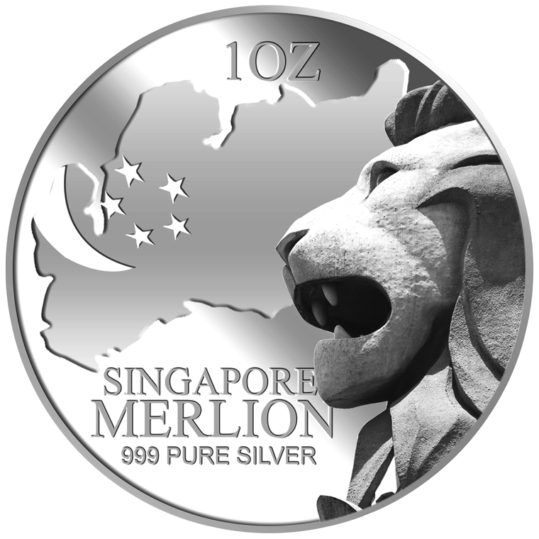 1oz SG Merlion Map Silver Coin