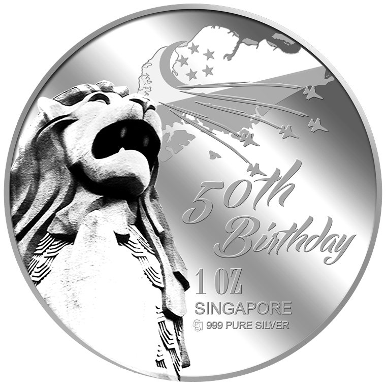 1oz SG 50th Birthday (SERIES 1) Silver Medallion (YEAR 2015)