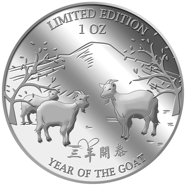 1oz Golden Goat Silver Medallion