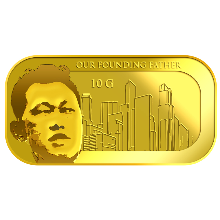 10g SG Founding Father (Series 1) (1965 SG Independent Day) Gold Bar (YEAR 2015)