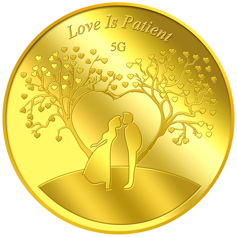 5g Love is Patient Gold Medallion