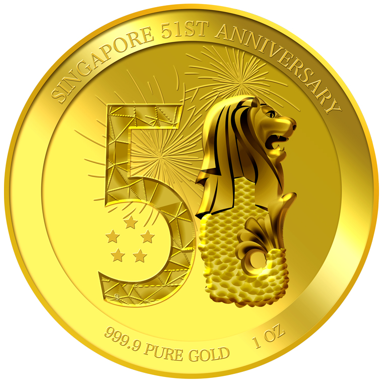 1oz SG 51st Anniversary Gold Medallion (YEAR 2016)