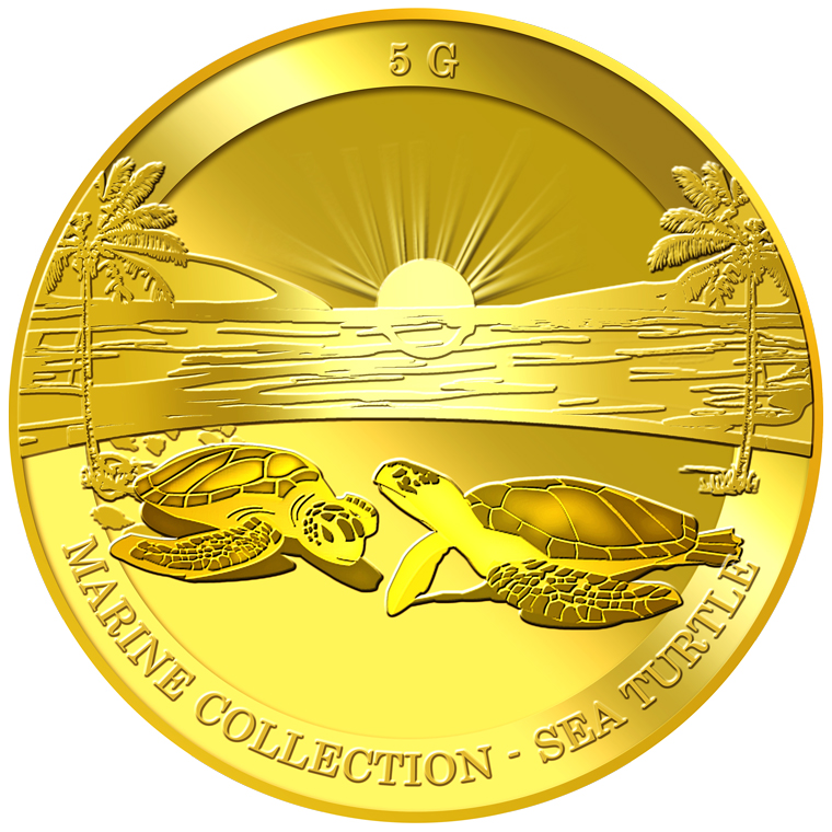5g Sea Turtle Gold Medallion