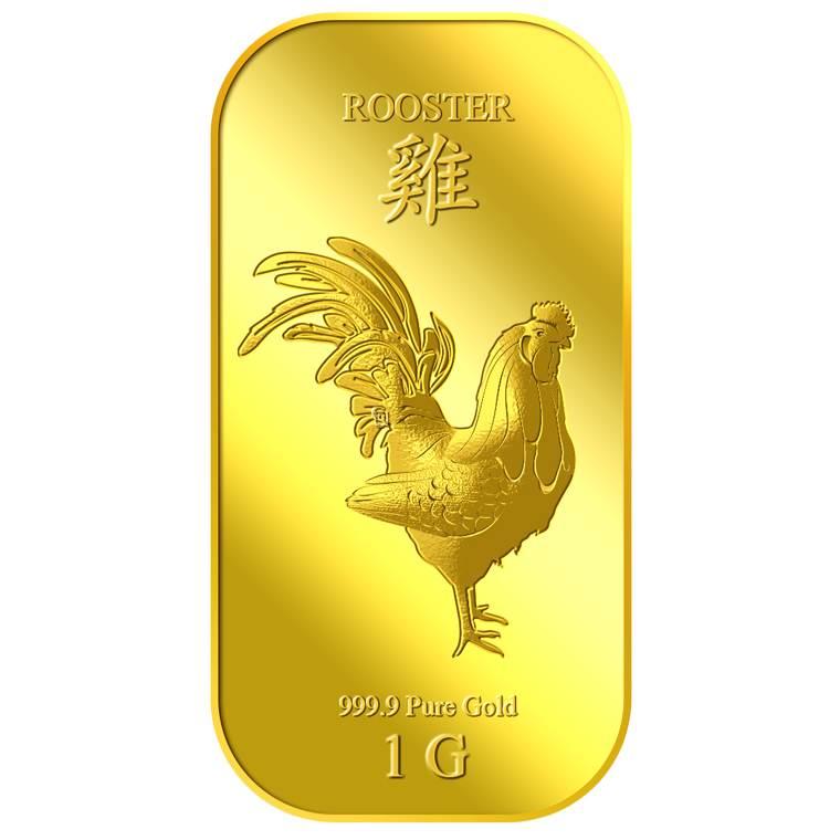 1g Golden Rooster Gold Bar
