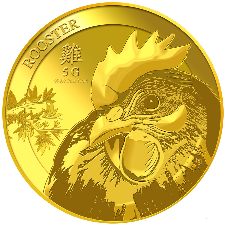5g Golden Rooster Gold Coin