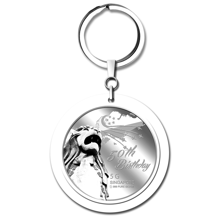 5g SG 50th Birthday Silver Medallion Keychain
