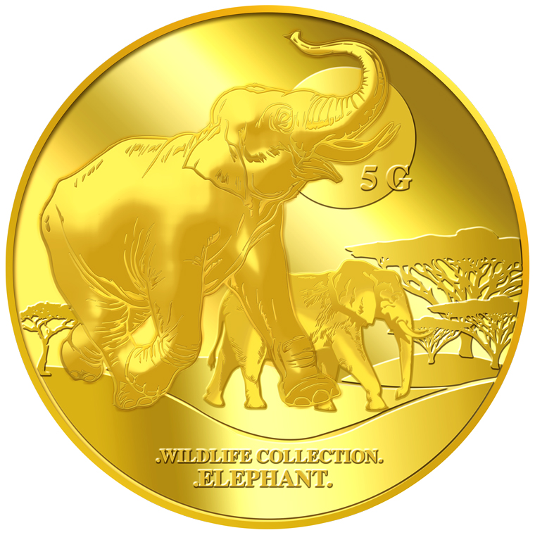 5g Elephant Gold Medallion