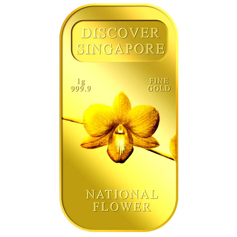 1g SG National Flower Gold Bar