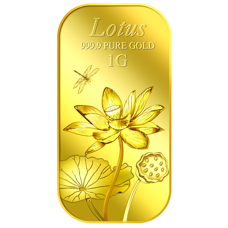1g Lotus Gold Bar