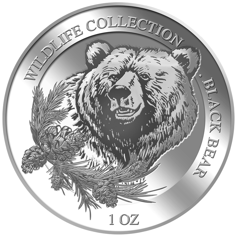1oz Black Bear Silver Medallion