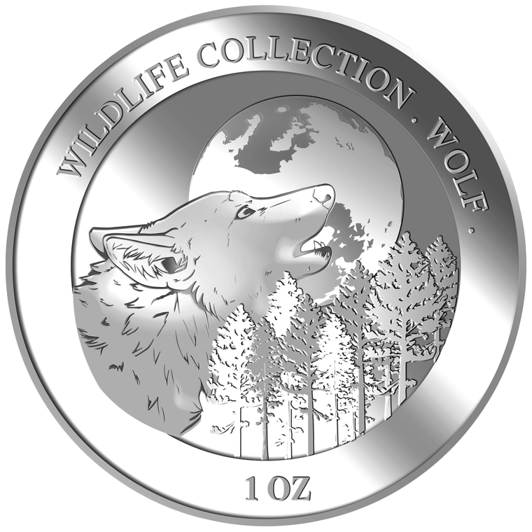1oz Wolf Silver Medallion