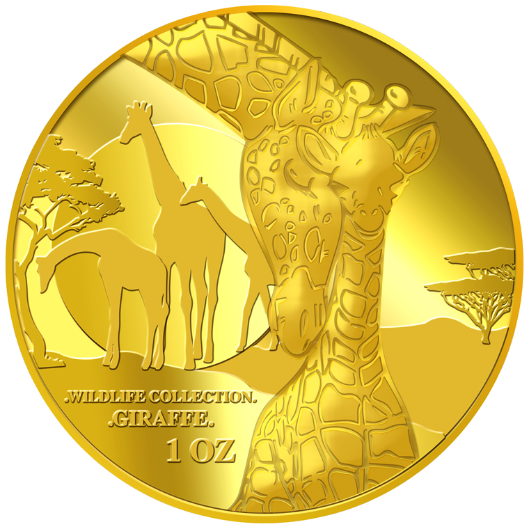 1oz Giraffe (Mother & Son) Gold Medallion