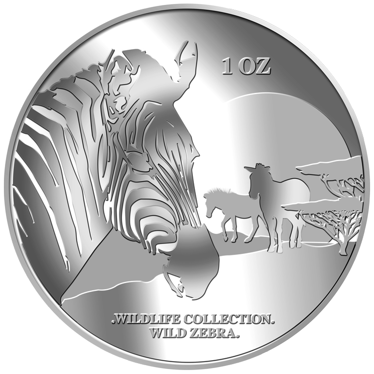 1oz Zebra Silver Medallion