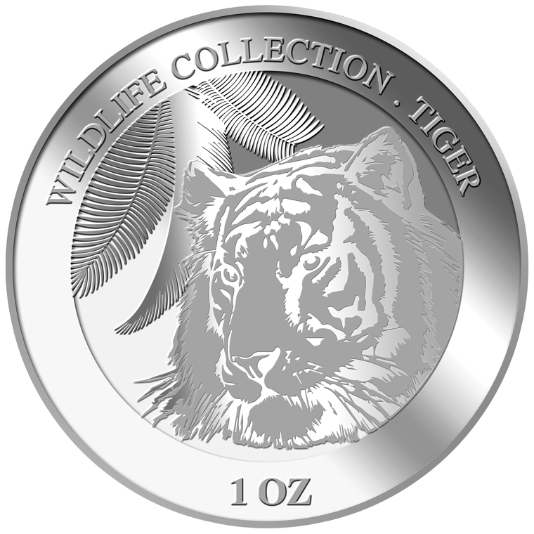 1oz Tiger Silver Medallion