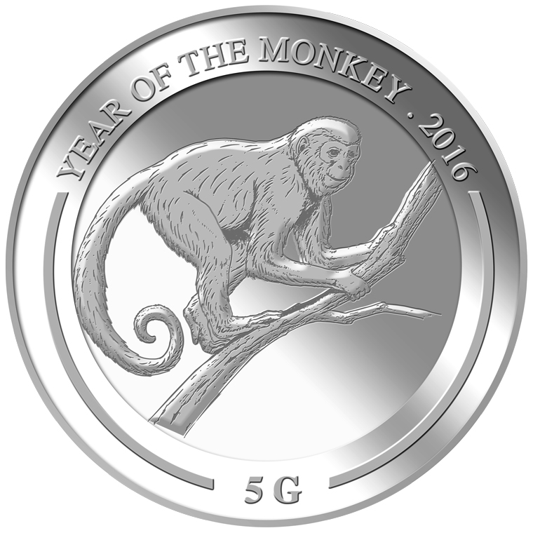5g Monkey Silver Medallion