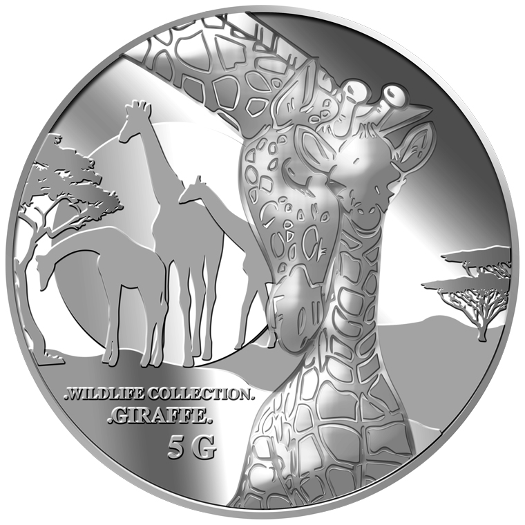5g Giraffe (Mother & Son) Silver Medallion