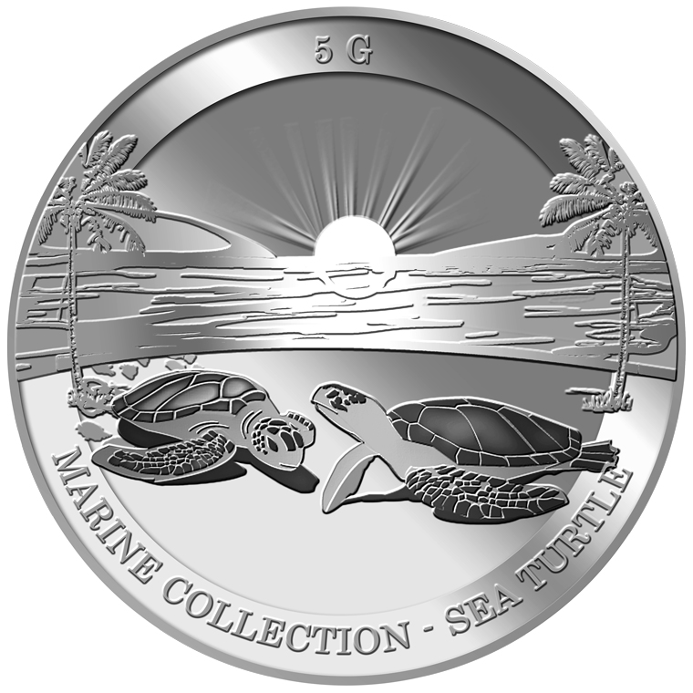 5g Sea Turtle Silver Medallion
