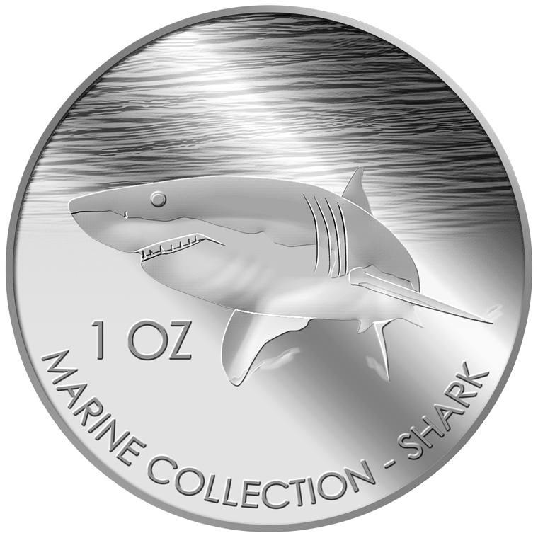1oz Shark Silver Medallion