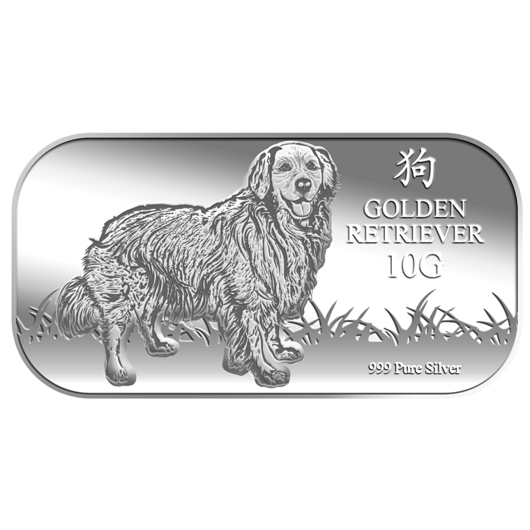 10g Golden Retriever Silver Bar