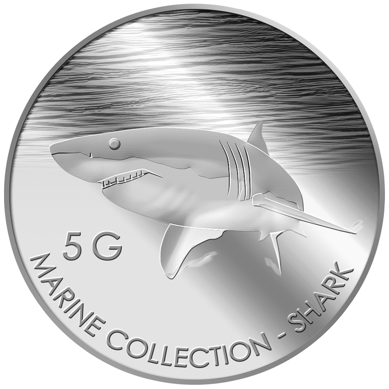 5g Shark Silver Medallion