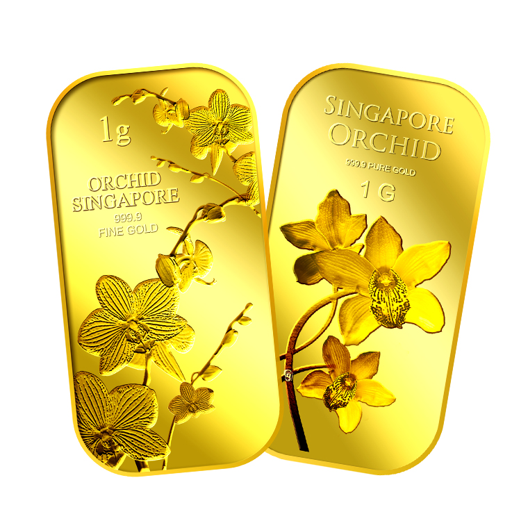 1g x 2 SG Orchid (Series 1) Gold Bar and SG Orchid (Series 2) Gold Bar