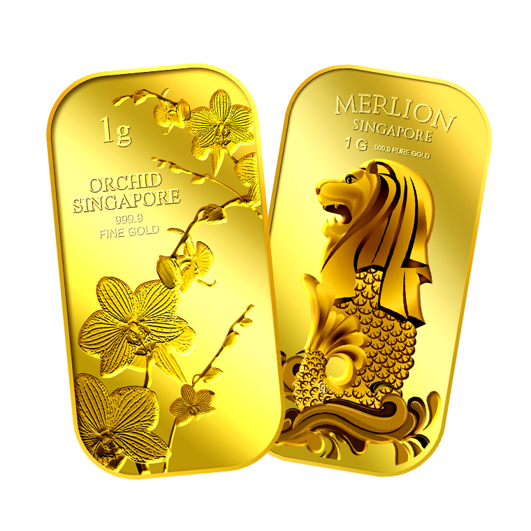 1g x 2 SG Orchid (Series 1) Gold Bar and SG Merlion Sea Gold Bar