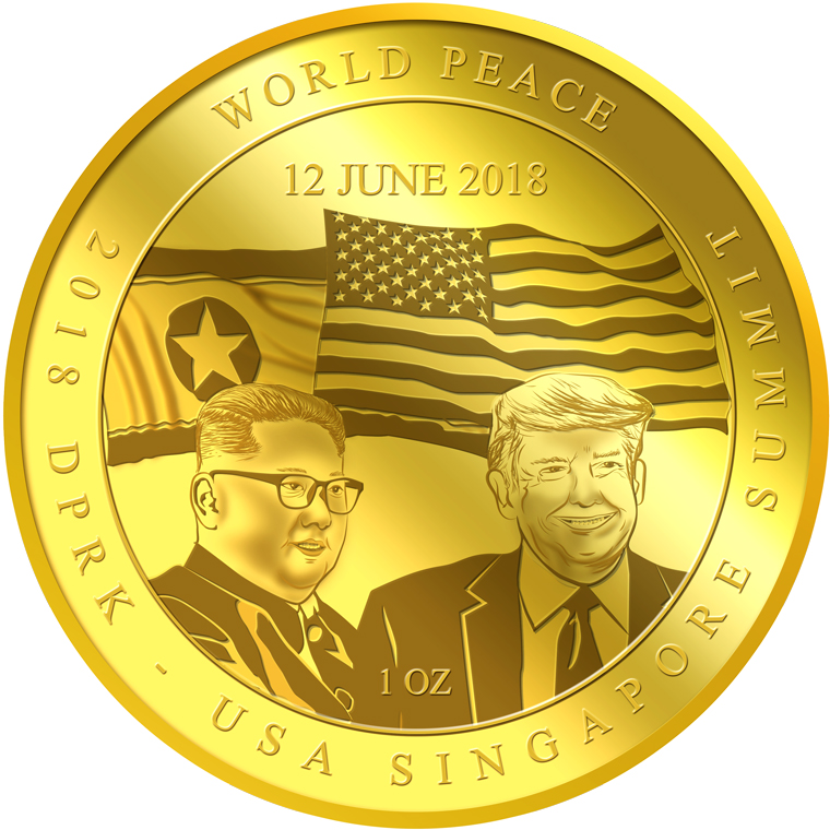 1oz 2018 DPRK - USA Singapore Summit GOLD COIN