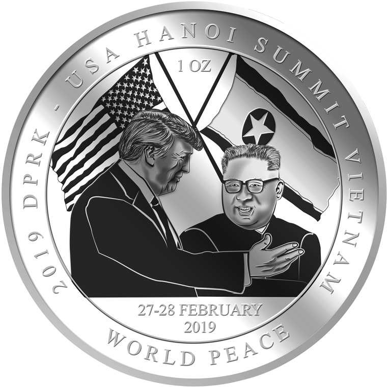 1oz 2019 DPRK - USA Hanoi Summit Vietnam Silver COIN