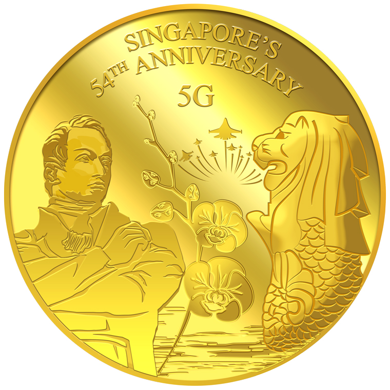 5g SG 54th Anniversary Gold Medallion (YEAR 2019)