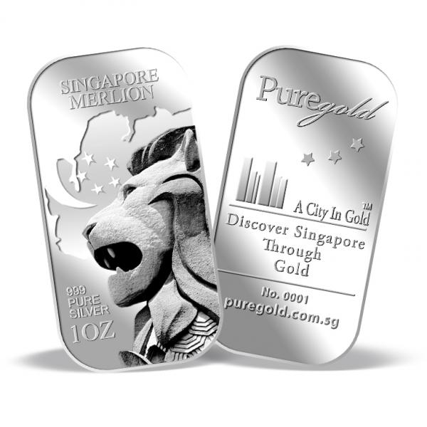 1oz Sg Merlion Map Silver Bar Buy Gold Silver In Singapore Buy