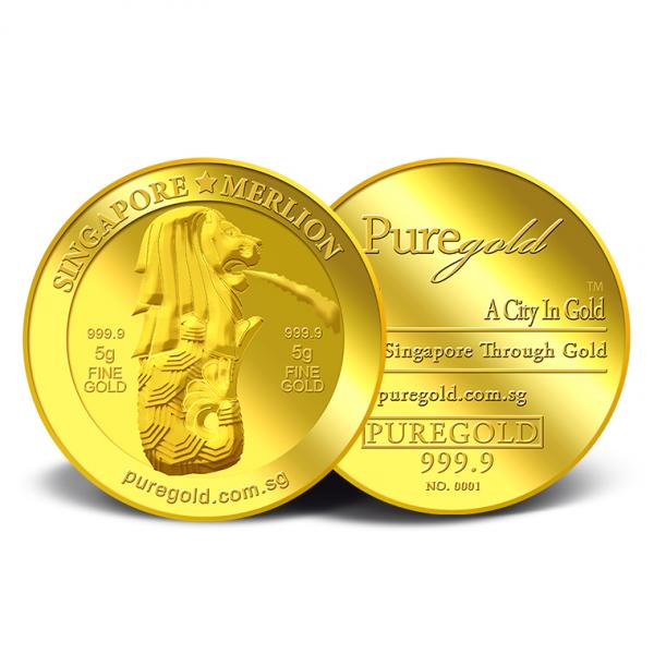 5g Sg Merlion Fountain Gold Coin Buy Gold Silver In